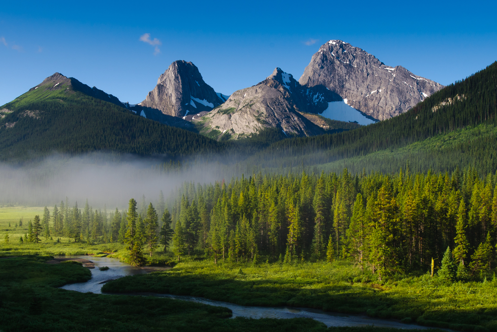 Early morning mist in scenic rocky mountains Canada